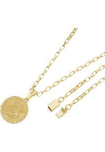Pingente São Jorge Com Corrente Modelo Francesa Tudo Joias Fecho Gaveta Folheado A Ouro 18K Dourada