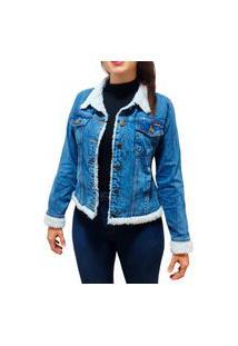 Jaqueta Jeans Feminina Maxi Forro De Pele Pelinho Grossa Alta Qualidade Azul Marmorizado Pelinhos Brancos