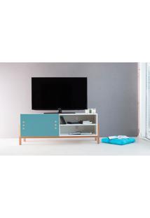 Rack Tv Contemporâneo-Moderno Eric 1200 Mdf Branco Pés Madeira Cor Jatobá Porta Azul De Correr - 126X43,6X48,5 Cm