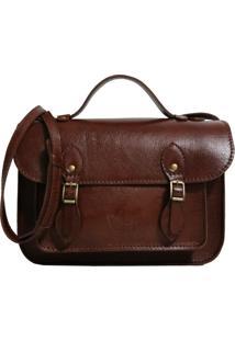 Bolsa Line Store Leather Satchel Pequena Couro Marrom Avermelhado,
