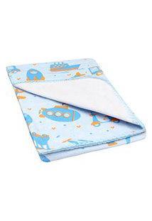 Cobertor Pequeno Bebê Masculino Azul Veículos - Bercinho - Tamanho Único - Azul