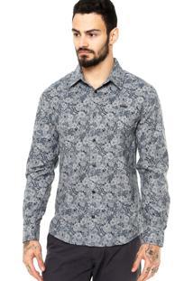 Camisa Manga Longa Colcci Floral Cinza/Azul