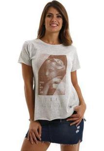 Camiseta Equivoco Primavera Feminina - Feminino-Cinza