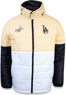 Jaqueta New Era Dupla Face Los Angeles Dodgers Amarelo/Branco