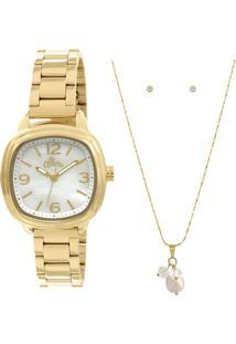 ... Relógio Allora + Colar E Brincos - Feminino-Dourado e86ce55bae