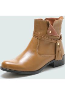 Bota Cano Curto Over Boots Urbana Couro Bege