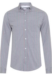 Camisa Masculina Mini Quadriculado - Cinza