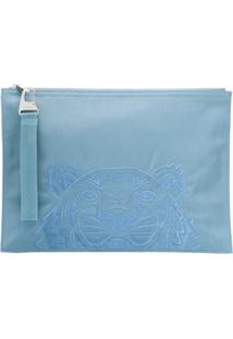 Kenzo Clutch Com Bordado De Tigre - Azul