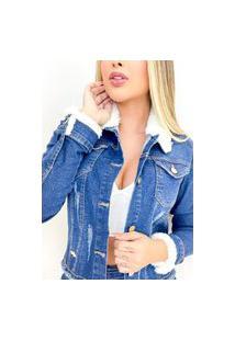 Jaqueta Jeans Destmoda Pelúcia Novidade Azul