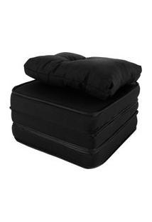 Puff Multiuso 3 Em 1 + Travesseiro Solteiro Jacquard Liso Preto Bf Colchões