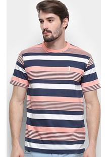 Camiseta Aleatory Listrada Masculina - Masculino-Marinho+Laranja