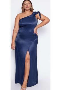 Vestido Almaria Plus Size Pianeta Acetinado Azul