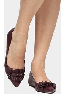 Sapatilha Couro Shoestock Babados Feminina - Feminino-Vinho