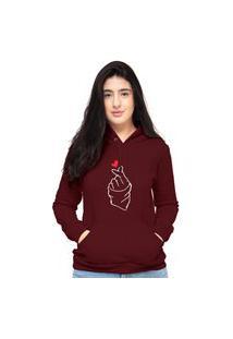 Blusa Moletom Feminino Bordô Coração