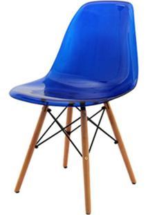 Cadeira Eames Policarbonato Azul Base Madeira 18684 Sun House