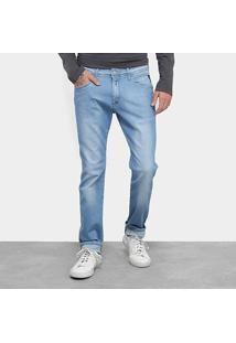 Calça Jeans Skinny Replay Estonada Cintura Média Masculina - Masculino-Azul Claro