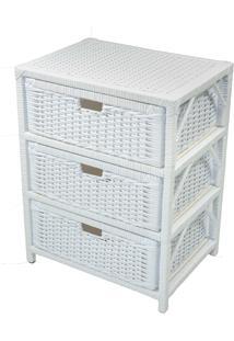 Gaveteiro Tradicional Organizador 3 Gavetas Fibra 41X30X56 - Branco