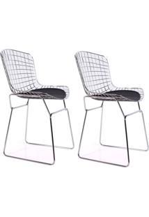 Conjunto Com 2 Cadeiras De Jantar Germana Preto E Cinza