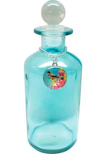Garrafa Decorando Com Classe Decorativa Bird Azul Redonda Branco