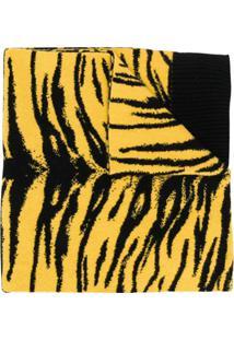 Laneus Echarpe Com Estampa De Tigre - Amarelo