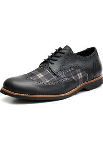 Sapato Social Shoes Grand Chess Preto Tamanho Especial Preto
