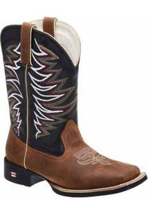 Bota Texana Em Couro Dexshoes Masculina - Masculino-Marrom+Preto