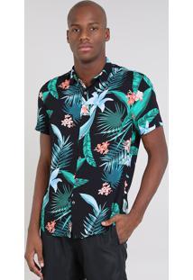 Camisa Masculina Estampada De Folhagens Manga Curta Preta