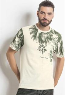 Camiseta Creme Com Estampa De Folhas