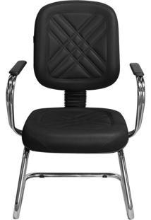 Cadeira Pethiflex Pd-04Scbc Couro Preto