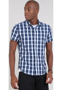 Camisa Masculina Slim Estampada Xadrez Manga Curta Azul Marinho