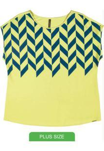 Blusa Com Estampa Geométrica Verde
