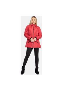 Jaqueta Sobretudo Acolchoado Com Gola Alta Capuz Frio Inverno Vermelho