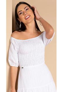 Blusa Cropped Branca Com Mangas Bufantes