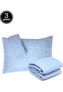 Kit 3Pçs Colcha King Altemburg Essence 200 Fios Azul