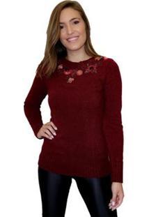 Blusa Portal Tricot Bordada Na Gola Feminina - Feminino-Vermelho