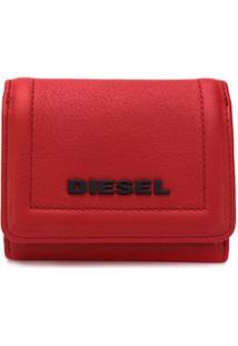 Diesel Carteira Dobrável Com Logo - Vermelho