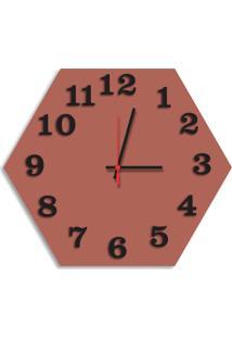 Relógio De Parede Decorativo Premium Hexagonal Cobre Metálico Com Números Em Relevo Médio