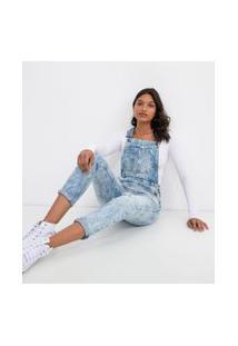Macacão Jeans Com Bolsos E Puídos | Blue Steel | Azul | M