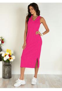 Vestido Pink Midi Com Fendas Laterais