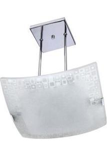 Pendente Attena Quadrado Mosaico 38Cm Em Vidro - Branco