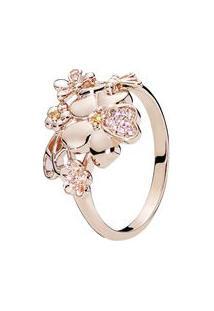 Anel Flores Rosê- Rosê Gold- Tamanho 50 = 10- Papandora