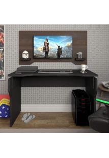 Mesa Gamer Com Painel Home Office Artany Preto/Terrano