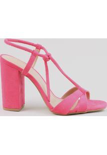 Sandália Feminina Salto Alto Com Nó Em Suede Pink