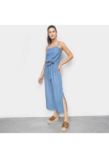 Macacão Jeans Cambos Pantacourt Amarração Feminino - Feminino-Azul Claro