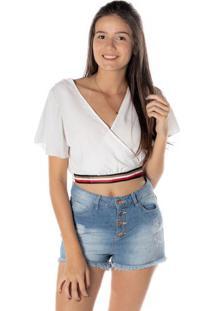 Blusa Cropped Transpassada - Branca & Vermelhadwz