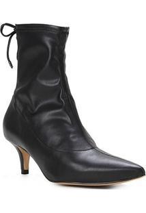 Bota Cano Curto Shoestock Salto Médio Napa Stretch Feminina - Feminino