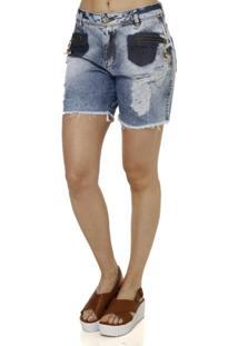 Bermuda Jeans Feminina - Feminino-Azul