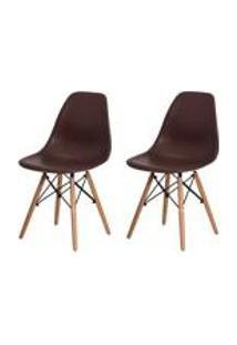 Kit 2 Cadeiras Charles Eames Eiffel Marrom Base Madeira Sala Cozinha Jantar