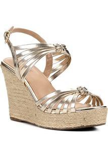 Sandália Anabela Shoestock Nó Tiras Feminina - Feminino-Dourado
