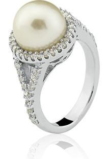 Anel Le Diamond Pã©Rola Rã³Dio Branco - Branco/Prata - Feminino - Dafiti